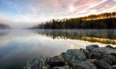 A new day emerges (High five o/) Tags: morning autumn mist water norway fog sunrise river landscape nikon nikkor d600 glomma 1635mm leefilters