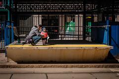 Waiting for the Train (Anthony Morganti Photographer) Tags: street people train buffalo downtown streetphotography fatheranddaughter waitingforthetrain downtownbuffalo