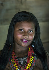 Panama, Darien Province, Bajo Chiquito, Woman Of The Native Indian Embera Tribe (Eric Lafforgue) Tags: portrait people woman color latinamerica girl beauty vertical ink photography necklace community women day adult pacific native feminine painted indian traditional young culture jewelry tribal headshot tattoos indoors teenager bead panama copyspace tribe sensuality ethnic embera vacations beaded indigenous centralamerica customs ethnicity onepeople panamanian ecotourism ethnology latinamerican tattooed traveldestinations onewomanonly lookingatcamera 1people wounaan jagua darienprovince panama524 bajochiquito