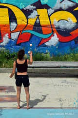 giochi-di-parole (braveknight74) Tags: park italy parco girl word torino nikon mess murals balls dora tricks papa p suburbs suburb trick juggling mills murales turin periferia giocoleria palline trucco periferie esercizio d3300