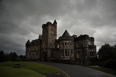 My new school : ) (Paul-Emile Grisard) Tags: castle school cloudy stunning scotland stirling nikon ever place best perfect just fees grey 1500 trees leaf grass university uk united kingdom amazing breathtaking thanks harry potter hills loch rain cold scotish into bench road left tower golf old windows clean new life shot east north 2016 september enjoy windy day