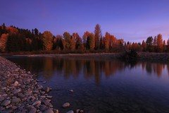 As night falls (alideniese) Tags: grandtetonnationalpark wyoming usa landscape waterscape river riverbank trees reflections evening sundown dusk twilight colour sky riverside pebbles