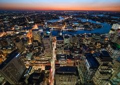 Western View from Sydney Tower (Orange Orb Photography) Tags: lookingdown sunset sydneytower city sydneyqvb buildings skyline sydney longexposure darlingharbour observationdeck