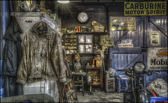 The Shuttleworth Workshop (Darwinsgift) Tags: shuttleworth collection old warden bedfordshire workshop garage vintage motor bike motorbike antique signs voigtlander 28mm f28 color skopar sl ii hdr photomatix nikon d810 tripod