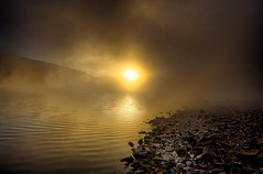 """Solar Waves"" (Melissa June Daniels) Tags: water lake sunrise cloudsstormssunsetssunrises reflection horizon rocks shore mist fog melissajdaniels melissajunedaniels melissajdanielsphotography mjdphoto thenymphandthebee hdr waves beautiful mood eerie landscape clouds advection travel"