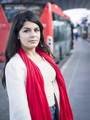 Nathalie, Amsterdam 2016: Travelling girl (mdiepraam (35 mln views)) Tags: nathalie amsterdam 2016 centraal station platform portrait busterminal pretty beautiful elegant dutch brunette girl naturalglamour scarf coat jeans denim