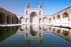 Pink mosque. Shiraz (Laura Jacobsen) Tags: iran mosque reflection shiraz