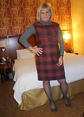 Gray and Red Plaid (krislagreen) Tags: tg tgirl transvestite trangender cd crossdress dress jumper tneck plaid red gray maryjanes patent blond femme feminized feminization xdresser