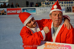 Stephen Smith with Alan Kennedy (James O'Hanlon) Tags: santadash santa dash katumba liam smith paul stephen liamsmith paulsmith stephensmith alankennedy philipolivier tinhead alan kennedy btr juliana ritchie photo shoot press ice rink icerink lfc