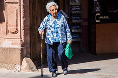 2016 - Mexico - San Luis Potosi - Senora (Ted's photos - Returns late December) Tags: 2016 cropped mexico nikon nikond750 nikonfx sanluispotosi tedmcgrath tedsphotos vignetting female wom woman cane shadow cajarea glasses