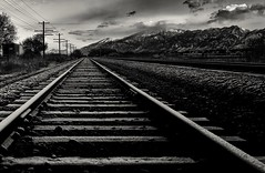 getting off track... (Alvin Harp) Tags: railways tracks railroadtracks mountains mountainrange wasatchrange willard utah lowkey blackandwhite bw monochrome mono november 2016 snow bwwinter alvinharp