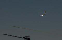 Waxing Crescent Moon with Earthshine 1 Dec 2016 (Sculptor Lil) Tags: canon700d dslrsingleexposure london astrophotography dusk earthshine flyby moon sky waxingcrescentmoon
