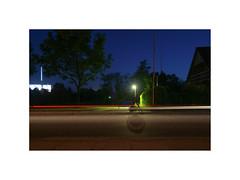Ghost Town V. Galten, Denmark (June 2005) (csinnbeck) Tags: ghost town denmark galten 8464 aarhus jylland jutland 2005 june hedge long exposure night road street photo border cars car factory