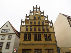 IMG_5428 (jaglazier) Tags: 15thcentury 15thcenturyad 2016 91716 architecture bielefeld buildings cityscapes copyright2016jamesaglazier germany gothic houses northrhinewestphalia roofs september tracery windows clouds gingerbread reconstructed restored shops stonebuildings streetscapes