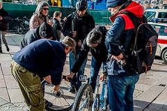 Si pu forare anche in Piazza Duomo! (Gian Floridia) Tags: milano piazzaduomo assistenza bicicletta bike collaborazione consulto foratura gommabucata gregari gruppo palmer prontosoccorso squadra street streetphotography teamwork