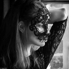 Window Lace (johnty52) Tags: arm black boat boatmuseum ear emy hair jewel lace mask model white mono window
