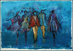 the mannequins (Jocawe) Tags: canoneos60d 1755mm dpp availablelight mannequin painting acryl paperboard blue turquoise yellow magenta black hats clothing