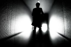 Extremely Menacing Vibrations (Hans Maso) Tags: blackandwhite abstract man canon blackwhite shadows tunnel 5d markiii ef35mmf14l canoneos5dmarkiii