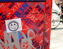 How are you Feeling Today? (Georgie_grrl) Tags: toronto ontario silly tongue sticker cyclist heart smiles happiness collegestreet goofysmile p positive myturn postalbox itsthelittlethings howareyoufeelingtoday itwasblank mydarkpinkside samsungd760 new365project justforkat