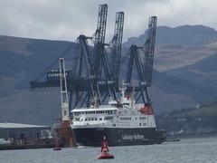 Finlaggan passes under the cranes at Greenocks Ocean Terminal on her way to the James Watt dock . (WesternSMT) Tags: ferry boat eva ship victoria sd calmac finlaggan levana serco denholm snoekgracht