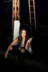 En las vías (María Granados) Tags: fashion night 50mm adolescente cigarette smoke smoking teen teenager