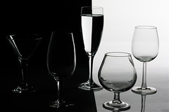 black and white (Croupiergrapher) Tags: stilllife water glass half glassware