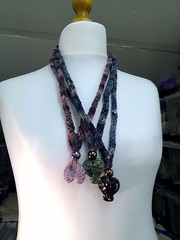 Hand knitted necklaces with Greek ceramic pendants 2 (MadeleineS) Tags: studio pepper plum knitted necklaces