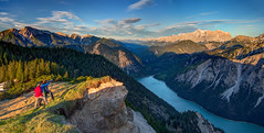 Austrian Fjordland (traumlichtfabrik) Tags: sunset people panorama lake mountains alps nature clouds landscape geotagged austria evening tirol sterreich long solitude loneliness afternoon view pentax sigma calm hike silence valley lonely outlook hikers persons peaks coordinates hdr tyrol position lat k5 calmness plansee zugspitze photomatix 2013 sigma1770 traumlicht auserfern traumlichtfabrik breitenwang sterreich