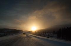 On the Road (yukonchris) Tags: winter sunset snow canada nature landscape wind north snowstorm yukon northern blizzard genre snowscape northof60 headingnorth southernyukon olympuse30