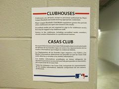 Citi Field, 05/16/13: official Major League Baseball sign at the clubhouse entrance regarding clubhouse access (IMG_0911) (Gary Dunaier) Tags: newyorkcity baseball stadiums queens mets queensborough newyorkmets queensboro ballparks flushing stadia queenscounty citifield