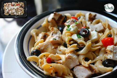 Garlic Chicken Pasta Bowl w/Feta Cheese