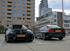BMW Combo! (Walther H) Tags: auto black netherlands car sedan canon mercedes rotterdam f10 f30 bmw zwart m5 touring 3series s100 autogespot waltherh