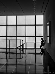 A Text from the Stairs at MoMA (CVerwaal) Tags: nyc girls newyork reflections silhouettes moma cellphones texting olympusem5 mzuiko17mmf18