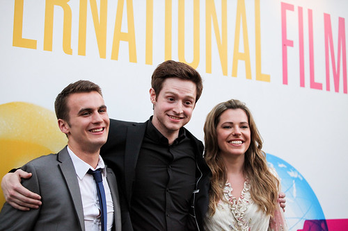 Patrick Wallace, Andrew Rothney & Scarlett Mack at the photocall for Blackbird outside the Filmhouse