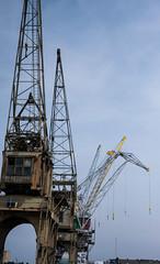 modern times (beta karel) Tags: old blue sky modern harbor belgium cloudy crane times antwerpen 2013 betakarel