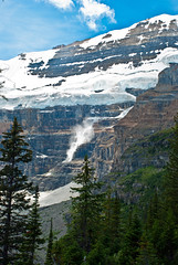 Avalanche!!! (aitramah) Tags: travel lake snow canada mountains water vertical clouds bluesky glacier alberta lakelouise avalanche mtvictoria verticallandscape verticalphotography verticalnature