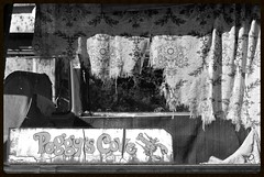 Vintage Adventure (timmerschester) Tags: old blackandwhite ontario canada window sign vintage sticker decay curtain vehicle rockwood mcleans