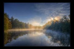 Fogs on the run (Kemoauc) Tags: morning autumn lake reflection fall fog sunrise nikon stuttgart hdr topaz brensee photomatix d300s kemoauc
