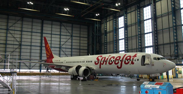 Spicejet Boeing 737-900ER in for maintenance in Hanger 6 at Dublin Airport.