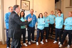 Rencontre avec l'équipe de France féminine de football à Clairefontaine le 10 mai 2015