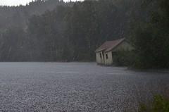 Heavy rain (justus.sprott) Tags: old house lake cold rain weather norway clouds grey nikon regen wetter skogtun nikond5100