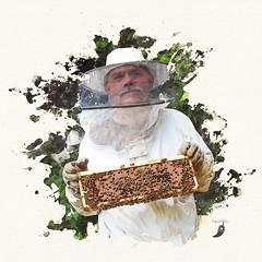 Beekeeper with frame (peppermcc) Tags: photoshop veil bees honey frame beekeeping monsanto honeybees beekeeper
