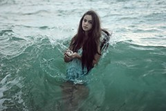 The mermaid song (Sus Blanco) Tags: memaid sea fineart artisticportrait blue nature wave magicalmoment longhair conceptual susblancophotography
