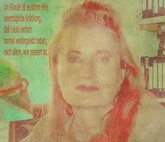 """70th Birthday Elfriede Jelinek  (Nobel Prize in Literature 2004) 20. Oktober 2016 70. Geburtstag Elfriede Jelinek - """"Im Grunde ist es schon eine unertrgliche Krnkung, da Leute einfach normal weitergelebt haben, nach allem, was passiert ist."""" (hedbavny) Tags: portrait portrt frau woman feministin female wife face gesicht ausdruck inhalt form quote zitat rede speech speak sprechen schrift letter botschaft aussage bedeutung art kunst knstlerin schriftstellerin autorin autor theater theatre musiker musikerin libretto green grn yellow gelb blau blue red rot schwarz black color farbe lampe lamp schreibtisch regal wandregal grain korn herbst autumn wien vienna austria sterreich hedbavny ingridhedbavny geburtstag birthday 70er"""