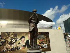 Bronze Tom in glory (skooksie) Tags: tombenson statue saints superdome louisianasuperdome bronzetom