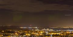Northern Lights over Edinburgh (Kyoshi Masamune) Tags: edinburgh uk scotland kingdomoffife fife fifecoast fifecoastalpath firthofforth firth forth edinburghatnight sigma1750mmf28 night nightphotography northernlights aurora auroraborealis