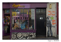 Ziggy Plays Guitar ... (junepurkiss) Tags: streetart ziggystardust davidbowie guitar shopfront brighton sussex