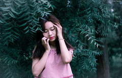 Lost and confuse (Diablo Nguyen Photography ( Chnh Nguyn )) Tags: diablonguyenphotography 50mm potraits woman nature forest greenery soul nikon d7000 trees leaves