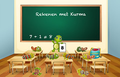 08 Rekenen met Kurma - 8 kameleons (Kurma's Creative World) Tags: illustration graphic drawing cartoon picture clipart learning studying classroom board blackboard chalkboard table desk chair chairs furniture room knowledge education elementary secondary uniform dresscode backpack backtoschool happy empty blank floor wall frame wood inside indoor kindergarten stationary accessory