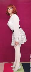 White Tights 2 (eileen_cd) Tags: whitetights miniskirt highheels polkadot whiteblouse redhead crossdresser transvestite cd tv
